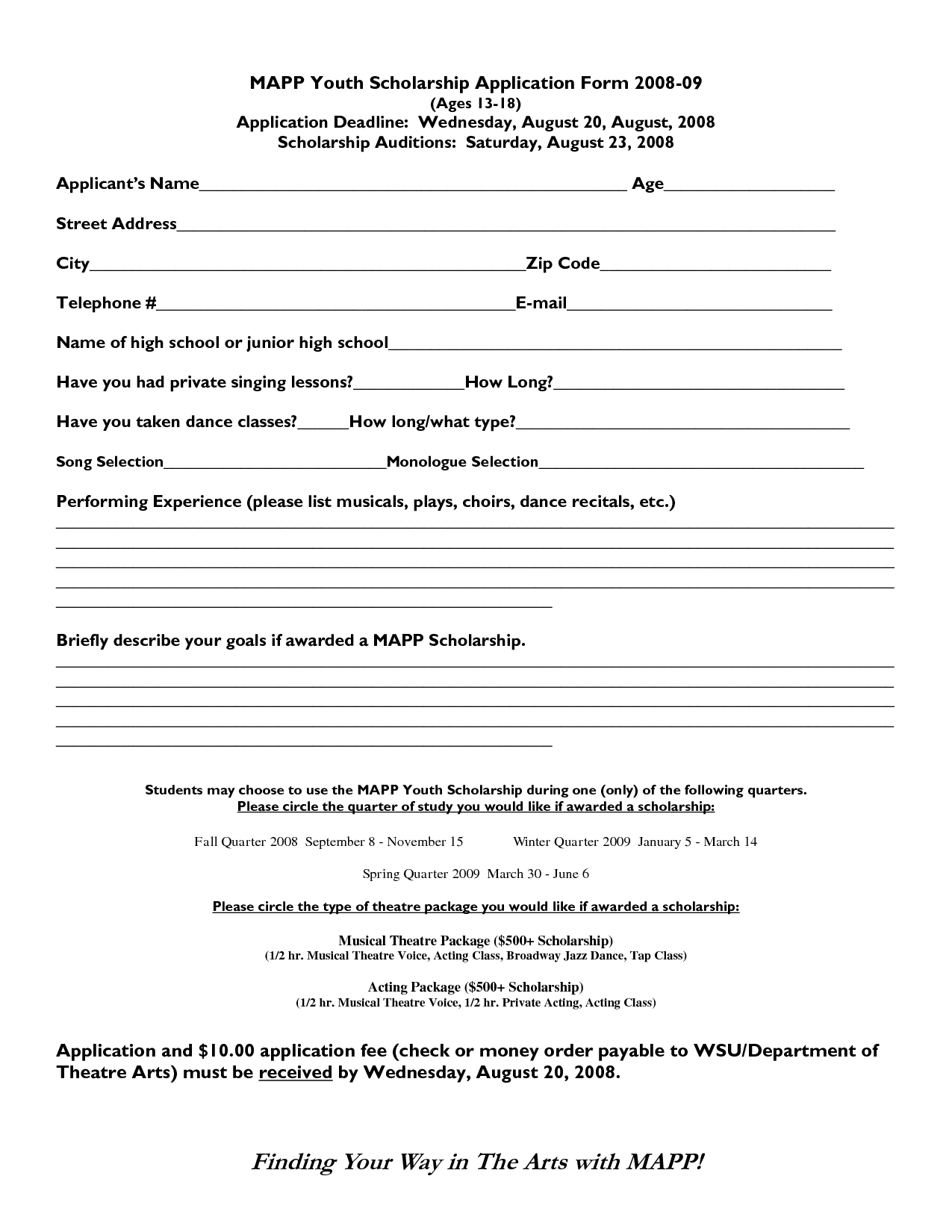 College Application Form Template - Fieldstation.co with Scholarship Format Sample 21041