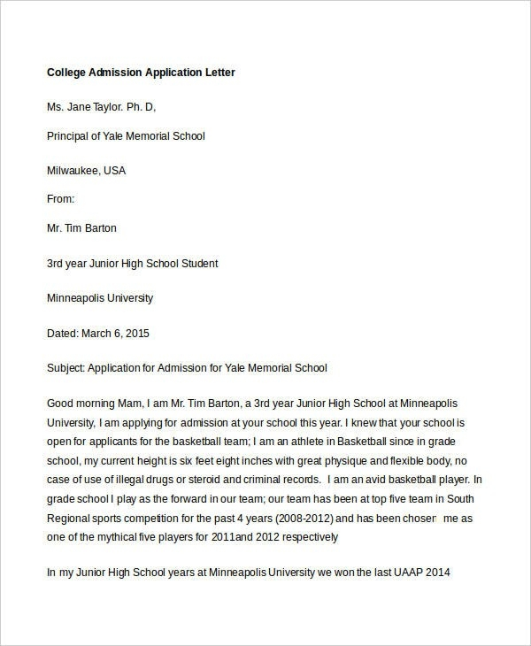 College Application Letter Templates - 9+ Free Word, Pdf Format for College Application Letter Format 23386