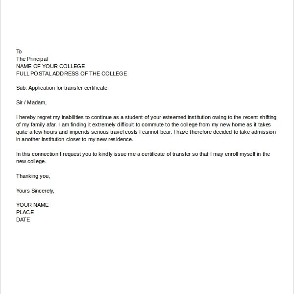 College Application Letter Templates – 9+ Free Word, Pdf Format ...