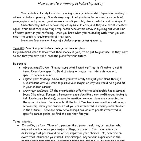 College Scholarship Essay Format  World Of Example Intended For