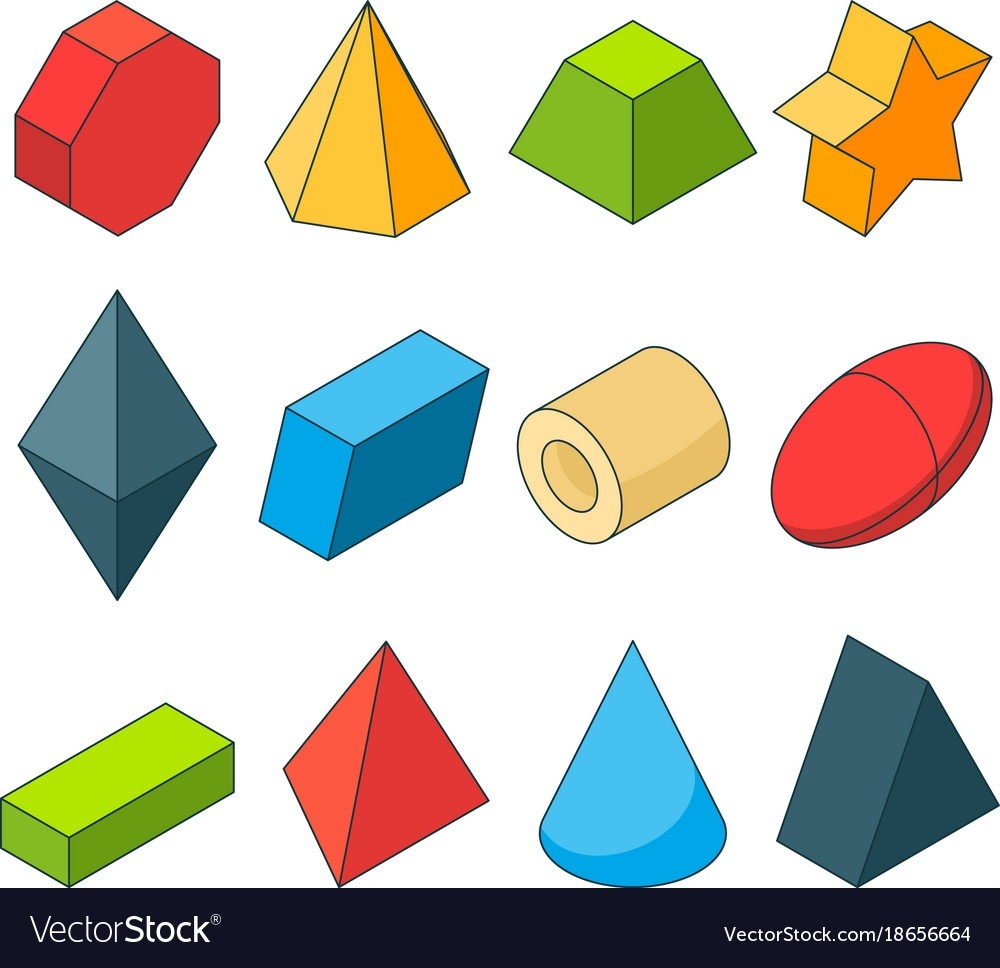 Colorful Isometric Pictures Of Geometry Shapes Vector Image in Geometry Shapes 24553