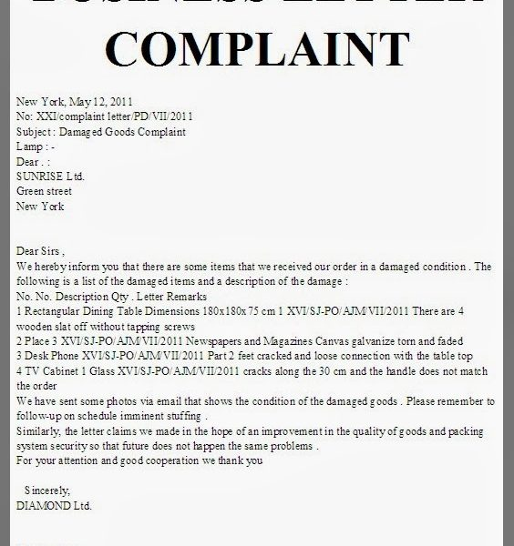 Complaint Letter Format  FieldstationCo Within Business Complaint