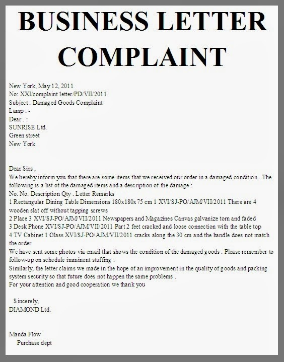 Business Complaint Letter Format  Examples And Forms