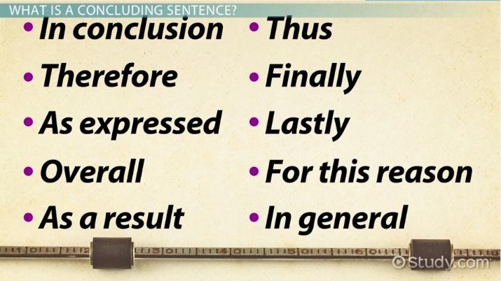 Concluding Sentence: Definition, Examples & Starters - Video throughout Conclusion Sentence Starters Examples 21171