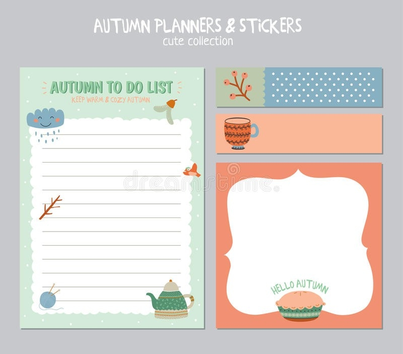 Cute Daily Calendar And To Do List Template Stock Vector in Cute Daily To Do List 21422