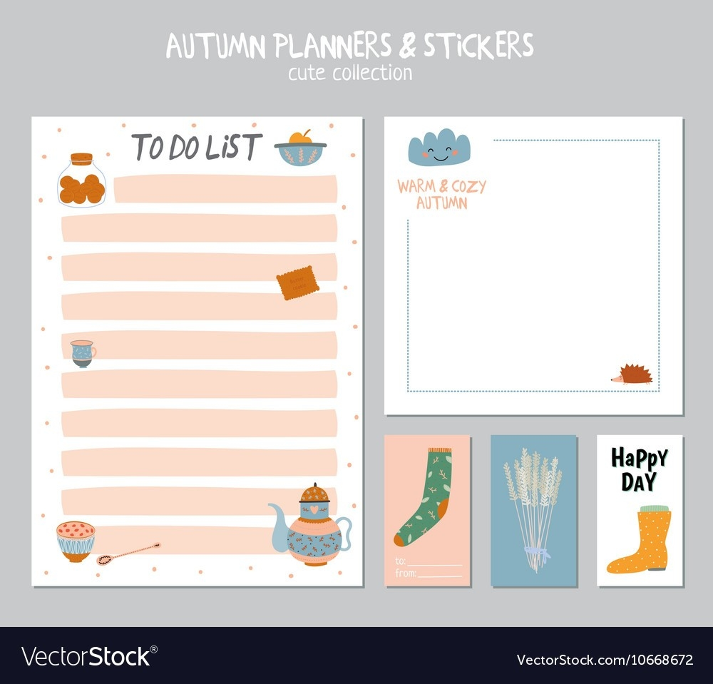 Cute Daily Calendar And To Do List Template Vector Image intended for Cute Daily To Do List 21422