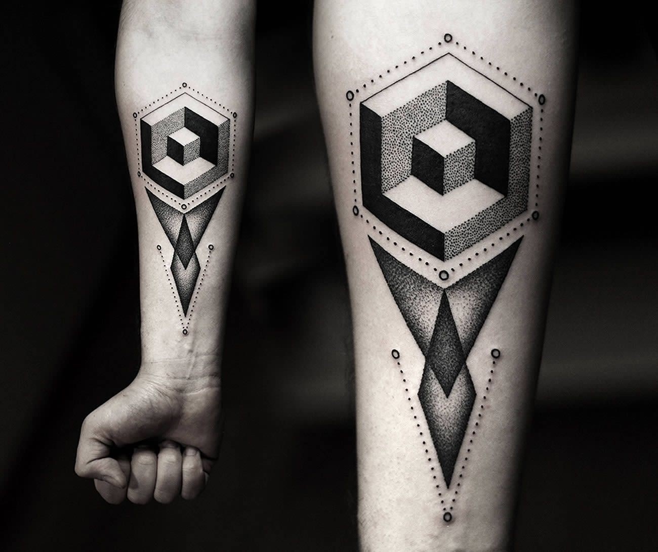 Czapiga's Dot And Blackwork | Geometric Shape Tattoo, 3D Geometric in 3D Geometric Shapes Tattoo 19483