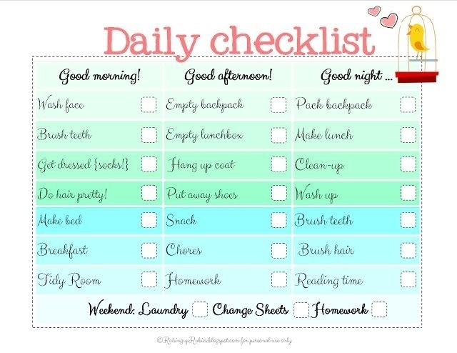 Daily Checklist Template For Kids | World Of Example within Daily Checklist Template For Kids 24152