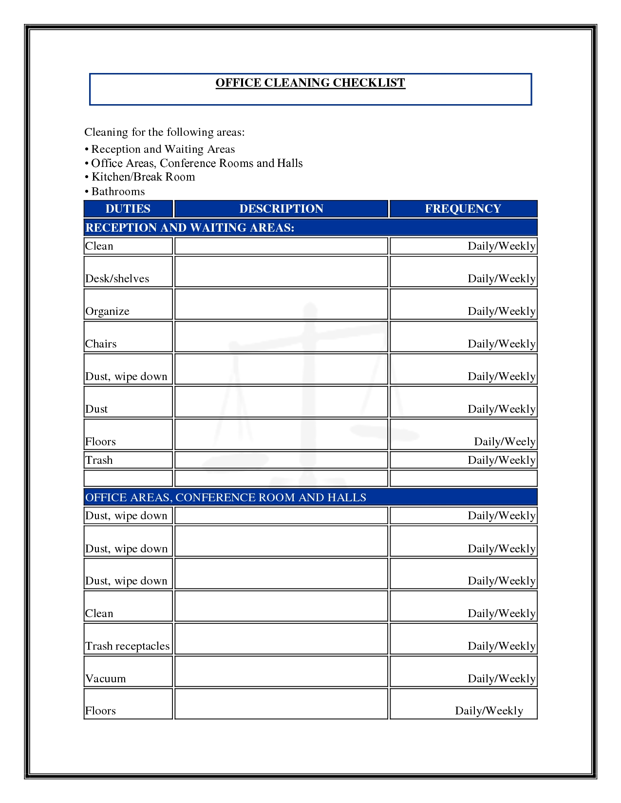 Daily Office Cleaning Checklist And Schedule Template Sample throughout Office Daily Checklist Template 24143