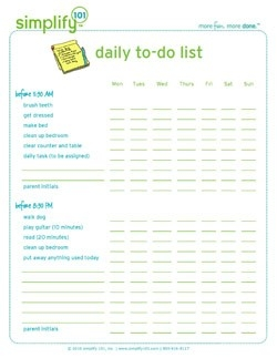 Daily To-Do List For Kids intended for Weekly To Do List For Kids 21611