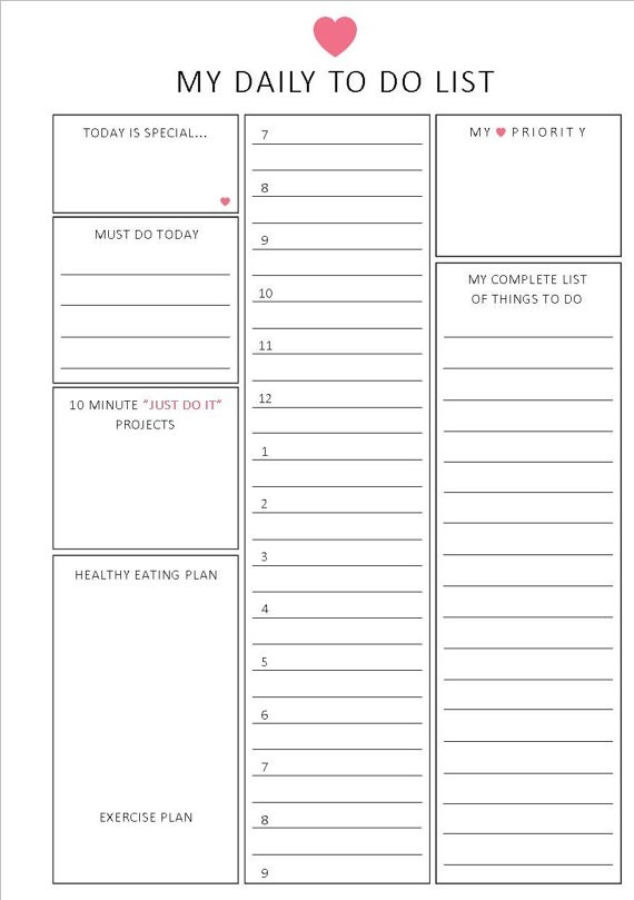 Daily To Do List / Hourly Format / A5 / By Lizzieloucreations for Hourly To Do List Template 22704