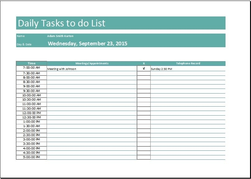 Daily To Do List Template With Time | World Of Example intended for Daily To Do List Template With Time 22715