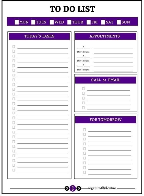Daily Work To Do List Printable | World Of Example regarding Printable Daily To Do List 24383