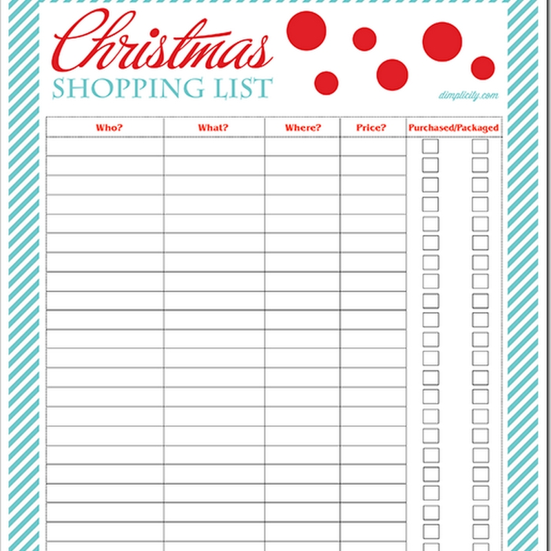 Dimplicity - Crafty Blog: Christmas Shopping List Free Printable regarding Christmas Shopping List Template 22084