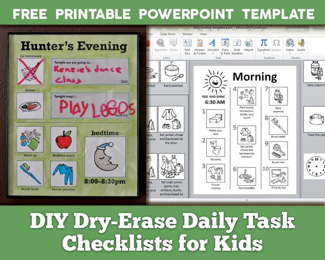 Diy Dry-Erase Daily Routine Checklists For Kids With Free with regard to Daily Checklist Template For Kids 24152