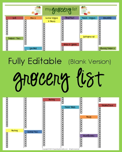 Editable Grocery List (Blank Version) - Organizing Homelife intended for Editable Shopping List Template 22104