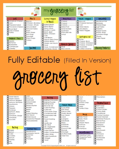 Editable Grocery List (Filled In Version) - Organizing Homelife throughout Editable Shopping List Template 22104
