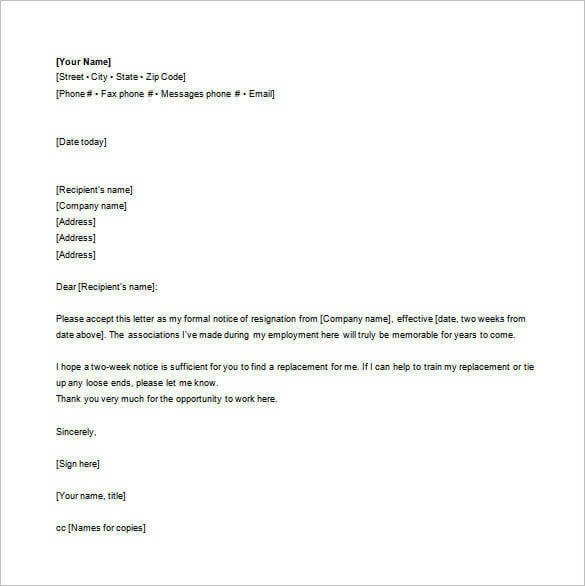 Email Resignation Letter Template - 19+ Free Sample, Example intended for Email Format Example 23316