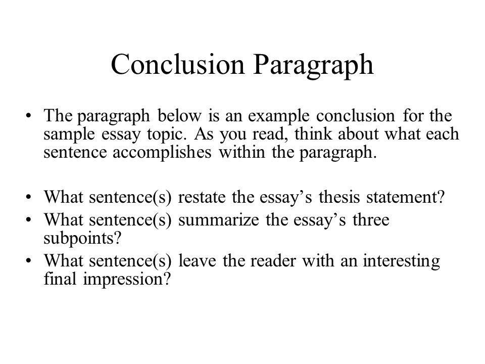 Help on conclusion for essay
