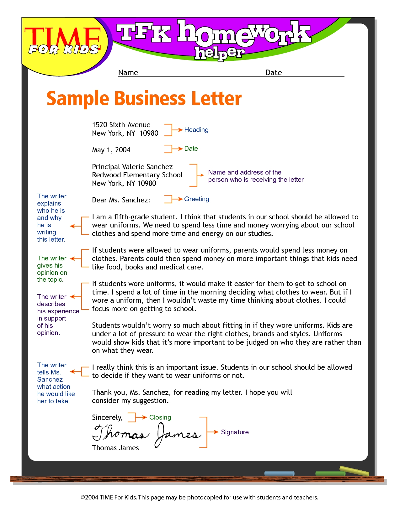 Exandle Business Letter Format For Kids Write Business Letter for Business Letter Format For Kids 20951
