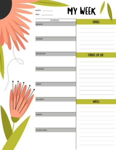 "Floral ""My Week"" Schedule & To-Do List Printable 