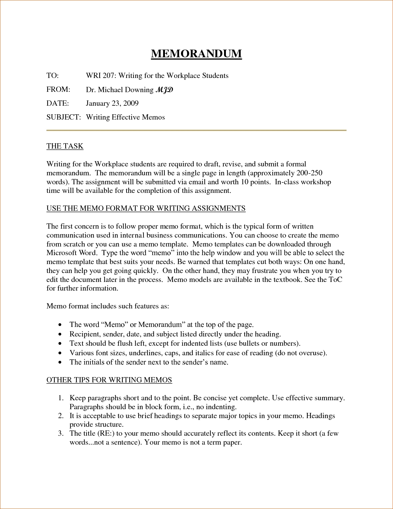 Formal Business Memo Format | World Of Example inside Formal Business Memo Format 23105