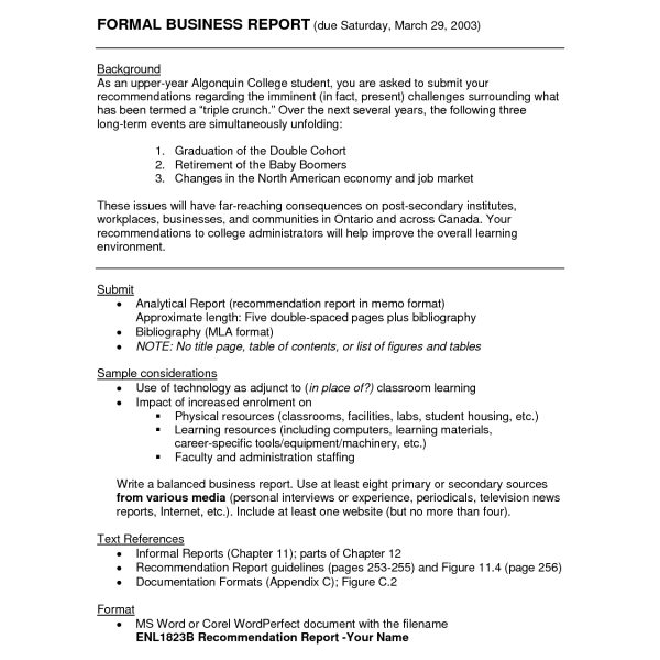 Formal Business Report Sample Asafonggecco within Formal