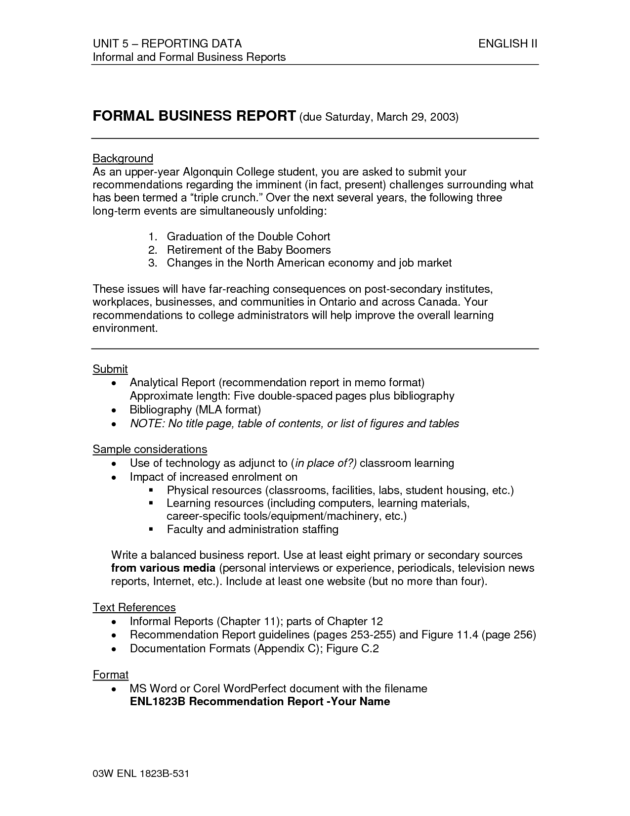 Formal Business Report Sample - Asafon.ggec.co within Formal Business Report Format Example 23197