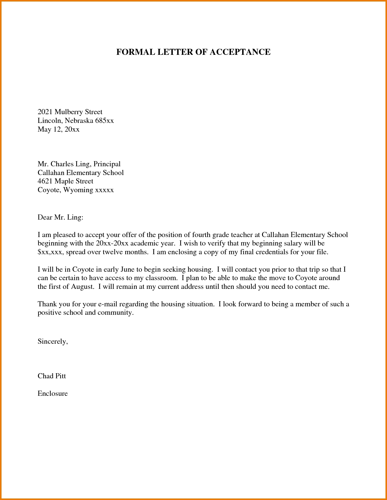 Formal Letter Format For School Students | Examples And Forms with Formal Letter Format For School 21731
