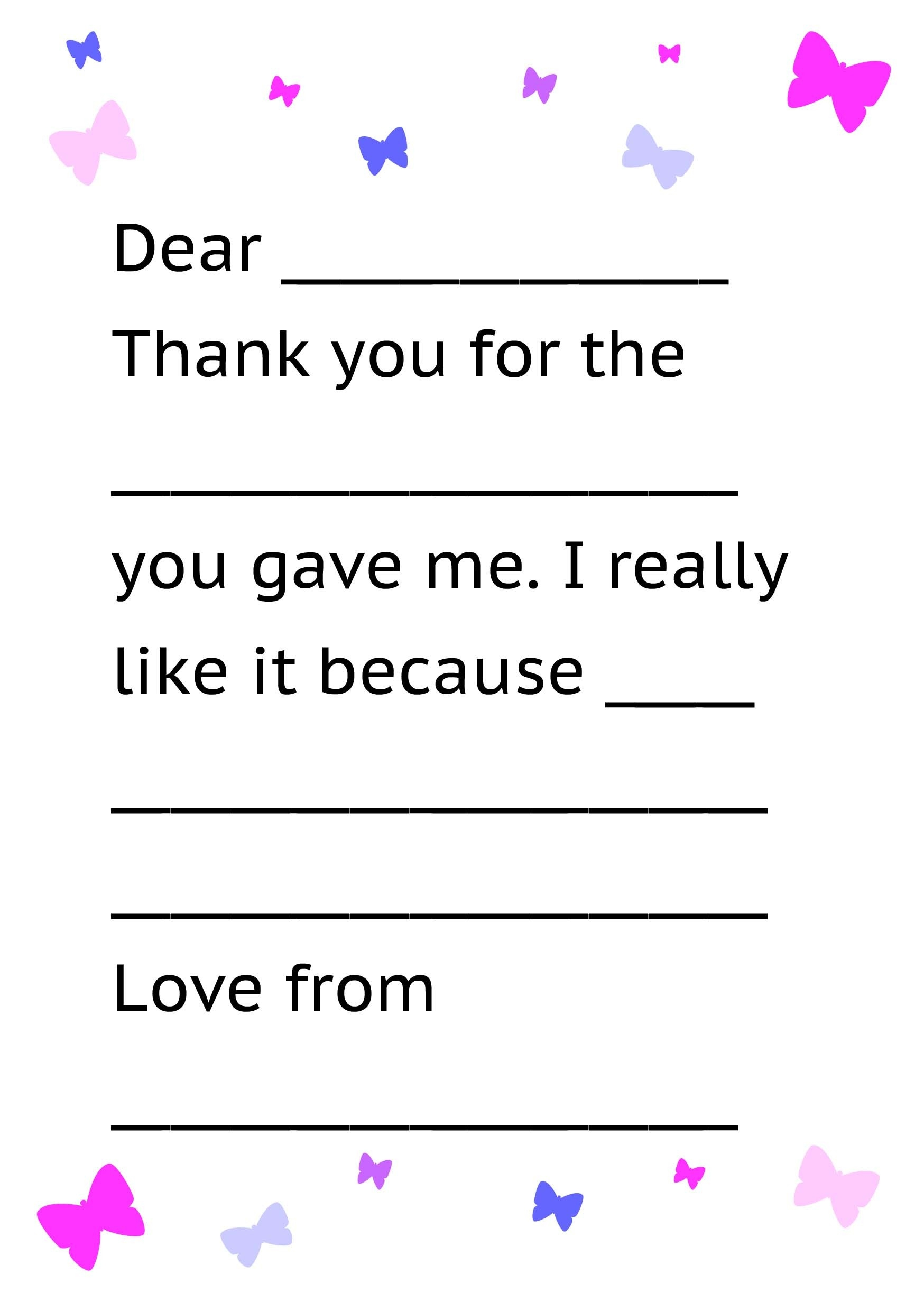 Formal Letter Sample Thank You Note For Kids Free Printable Letter with regard to Thank You Letter Format For Kids 20931
