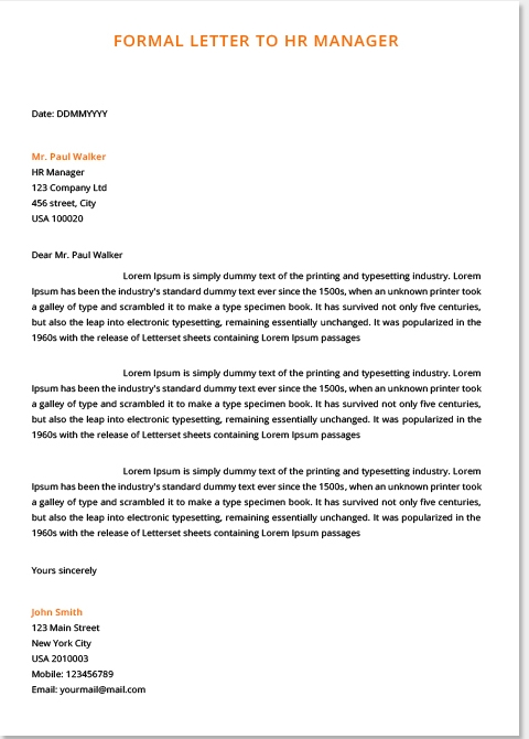 Formal Letters Examples For Students   Top Form Templates   Free regarding Formal Letter Format 19926