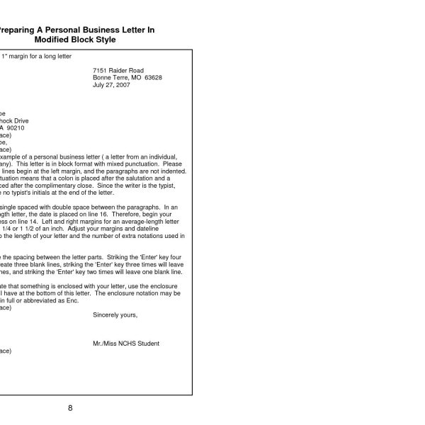 Format And Style Of A Business Letter Copy Personal Business Within