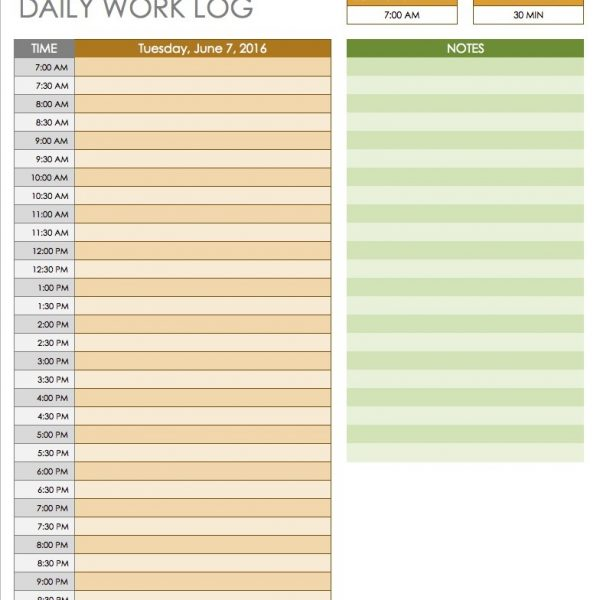 free daily schedule templates for excel smartsheet intended for