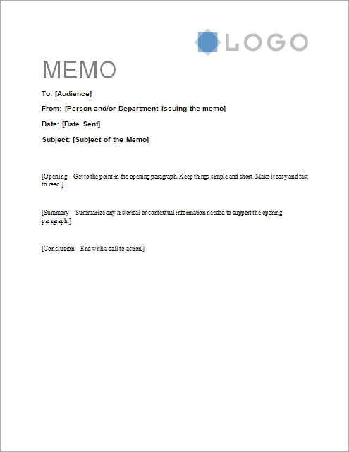 Free Memorandum Template - Sample Memo Letter with Memo Format Example In Word