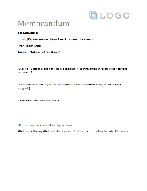 Free Memorandum Template - Sample Memo Letter within Business Memo Format Microsoft Word 22604