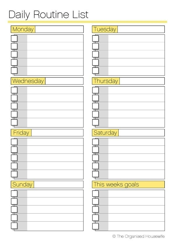 Free Printable Daily Routine Schedules : Selimtd Inside Daily pertaining to Daily Routine Checklist Template 24162
