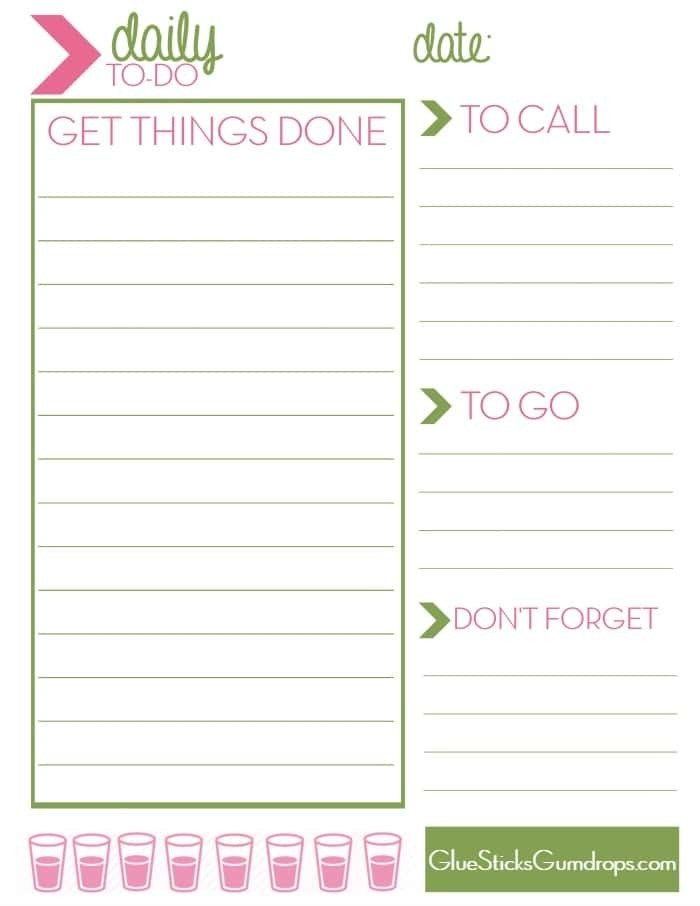 Free Printable Daily To-Do List - Glue Sticks And Gumdrops inside Printable Daily To Do List 24383