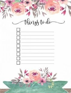 Free Printable Floral Things To Do List | Planners, Printables regarding Weekly To Do List Printable Floral 22294