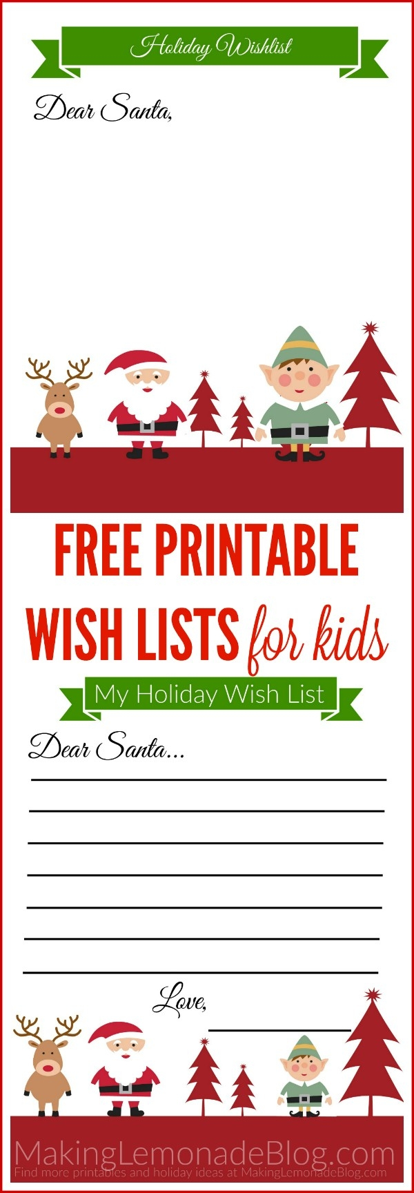 Free Printable Holiday Wish List For Kids | Making Lemonade Intended For  Free Printable Christmas List