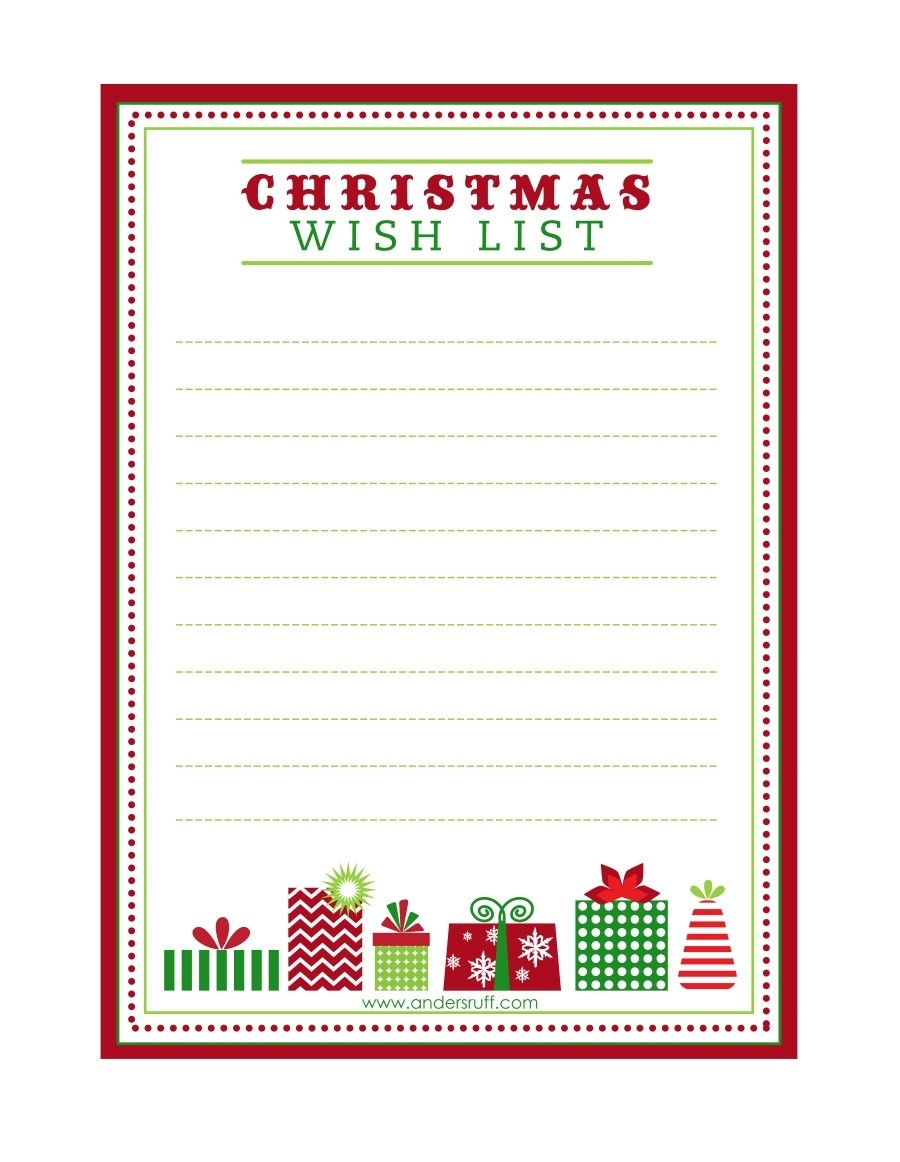 Free Printable Letter To Santa Template ~ Cute Christmas Wish List for Free Printable Christmas List Template 24313