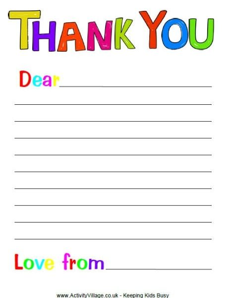 free printable thank you note paper for children search results regarding thank you letter format for kids