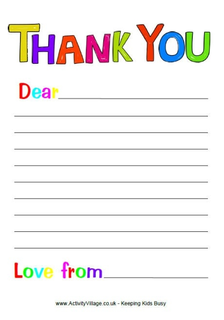 Free Printable Thank You Note Paper For Children | Search Results regarding Thank You Letter Format For Kids 20931