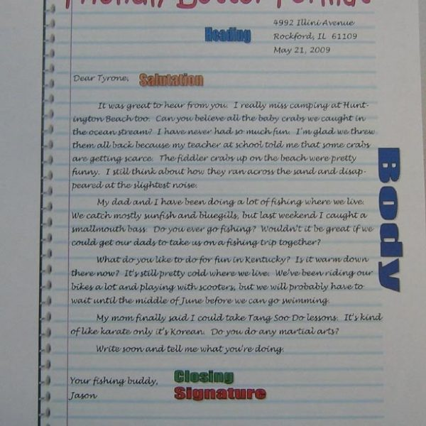 Friendly Letter Format Anchor 5th Grade Sra Imagine It For