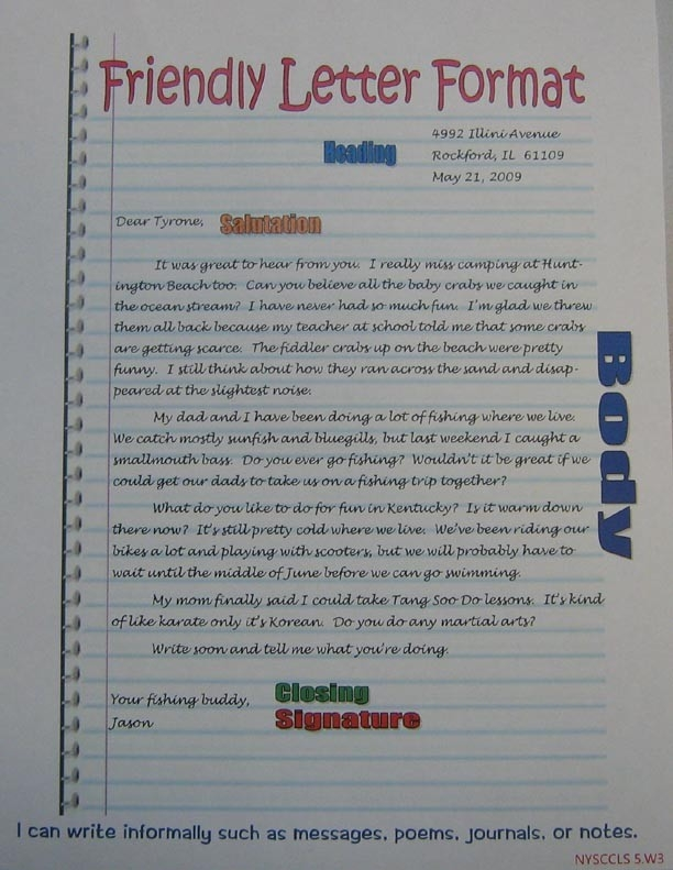 Friendly Letter Format Anchor | 5Th Grade Sra Imagine It intended for Letter Format For 6Th Graders 20961