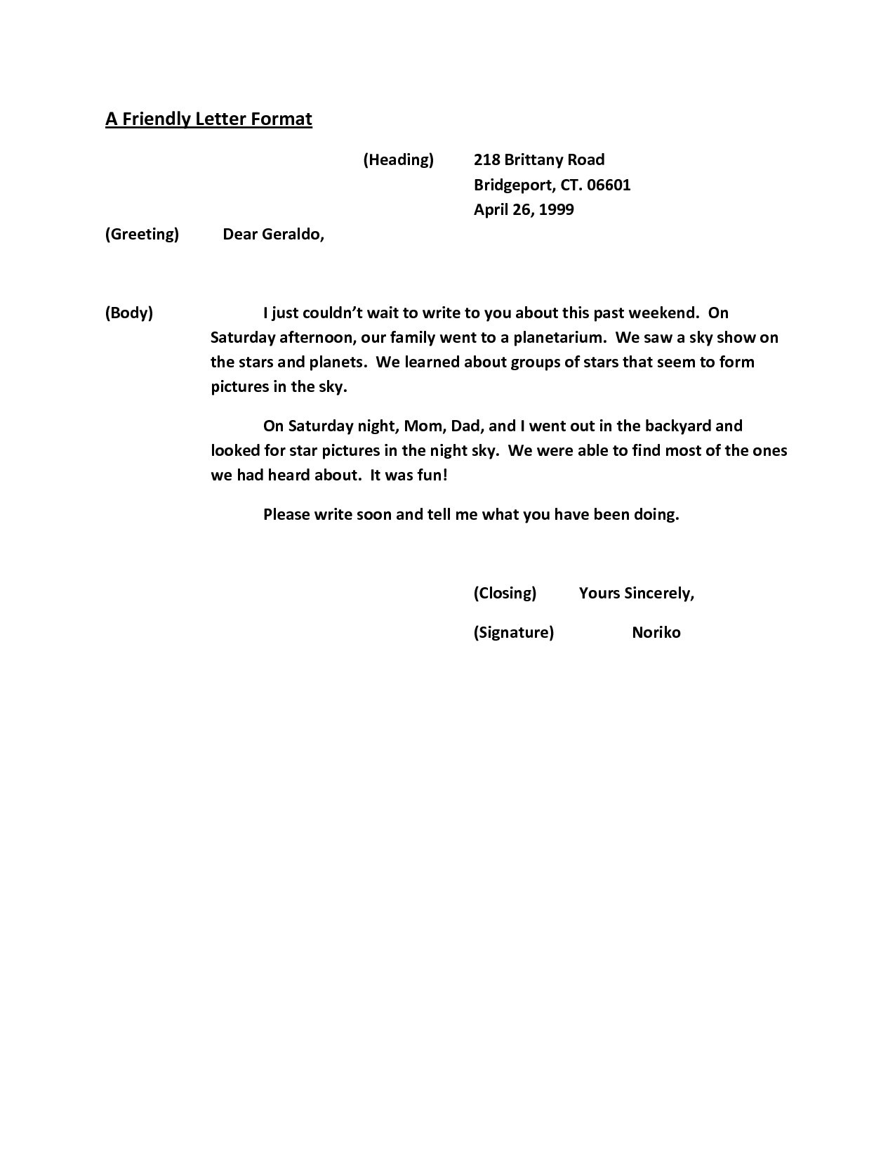 Friendly Letter Format Grade 6 New Friendly Letter Format Heading regarding Friendly Letter Format Heading 20891