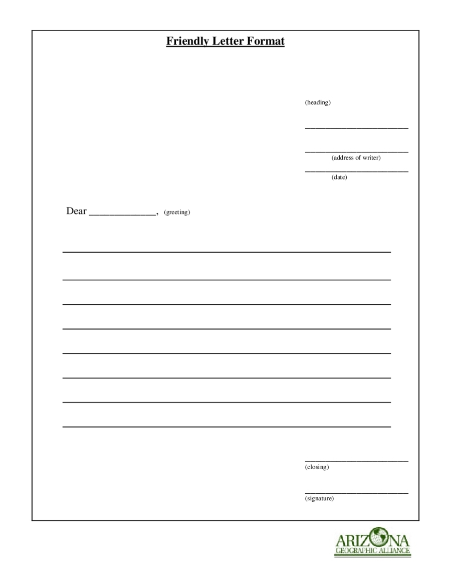 Friendly Letter Format Printable | World Of Example in Friendly Letter Format Printable 22444