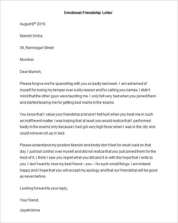 Friendly Letter Templates - 44+ Free Sample, Example Format | Free inside Personal Letter To A Friend Format 20198
