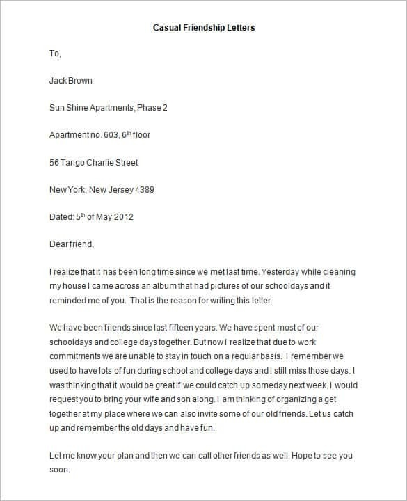 Friendly Letter Templates - 44+ Free Sample, Example Format | Free pertaining to Casual Letter Format To A Friend 21881