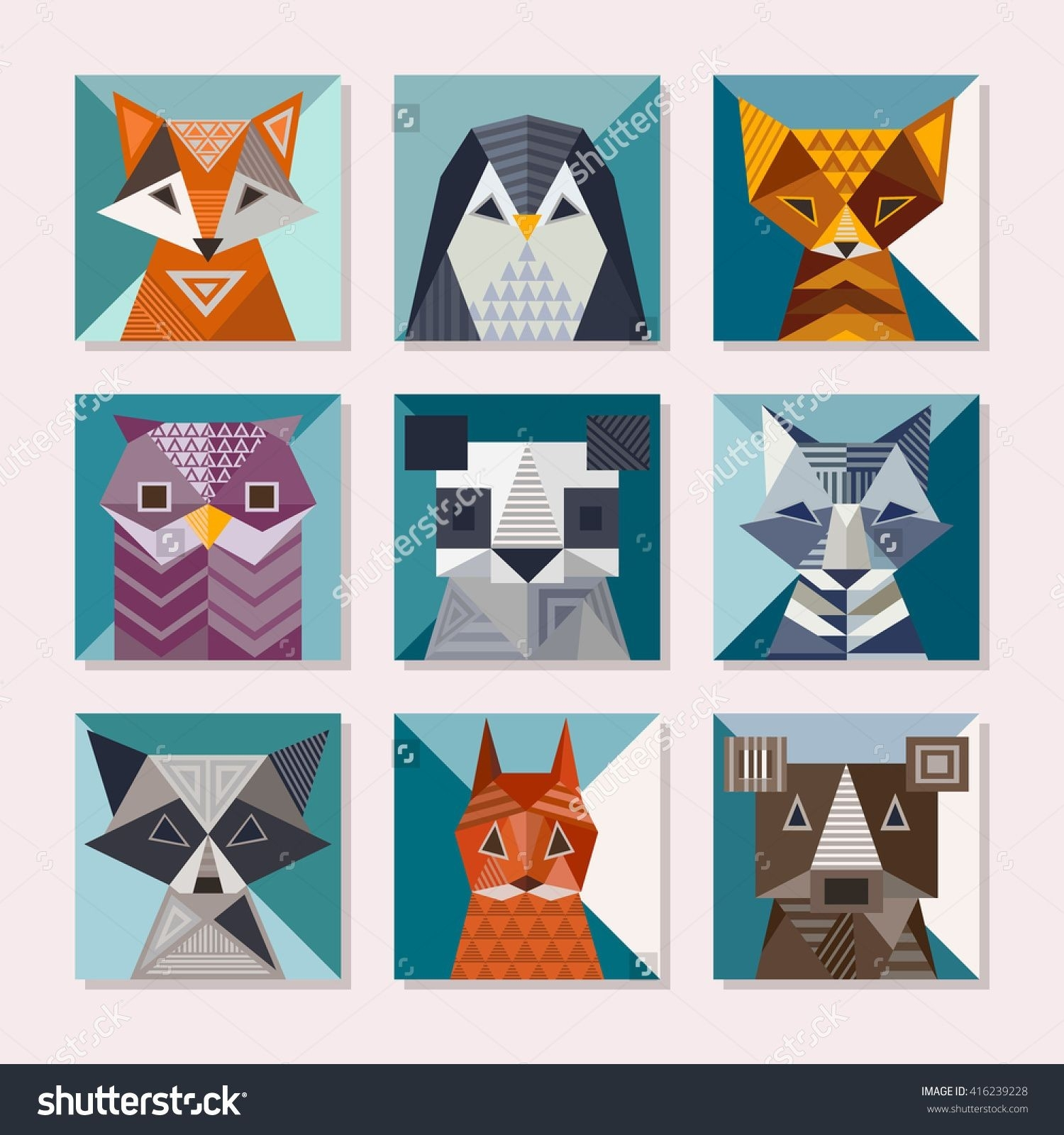 Geometric Animals Set. Cute Cards With Geometric Shapes. Fox inside Geometric Shapes Design Animals 24523