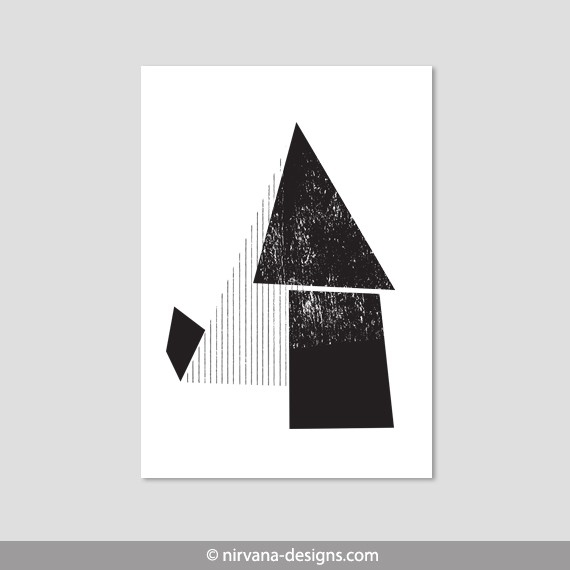 Geometric Shapes Black And White Grunge Retro Abstract Wall Art with Geometric Shapes Art Black And White 24483